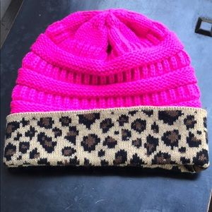 Hot pink and leopard beanie